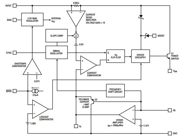 LT1376HV, Понижающий преобразователь напряжения на 1.5А, частота 500 кГц.